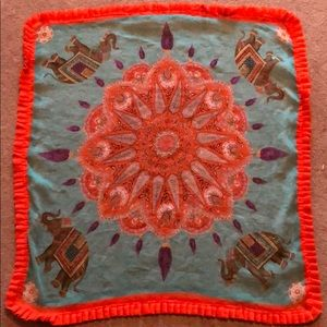 Teal & orange elephant scarf